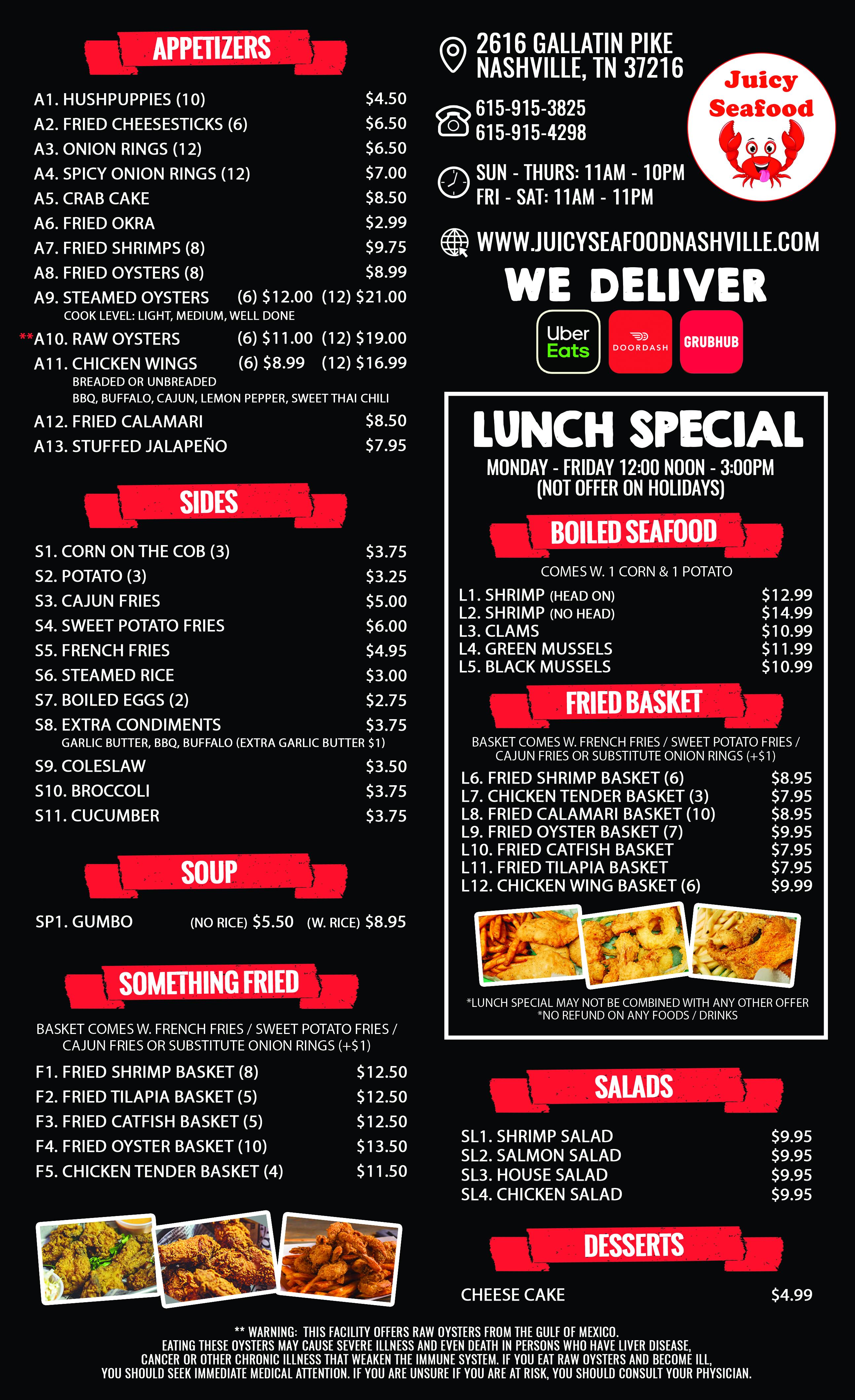 Cajun Combo Dish Juicy Seafood Menu In Tennessee Nashville